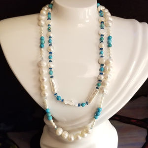 Pearl, Turquoise, & Apatite Artisan Necklaces NEW